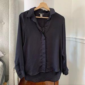 H&M   Dark navy blue silky blouse size M